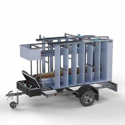 Steigeraanhanger afsluitbaar 250 + Rolsteiger Basis 75 x 190 x 5,2 meter werkhoogte