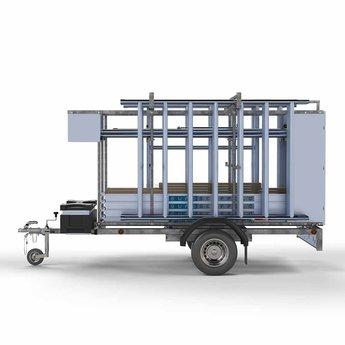 Steigeraanhanger afsluitbaar 250 + Rolsteiger Basis 135 x 190 x 5,2 meter werkhoogte