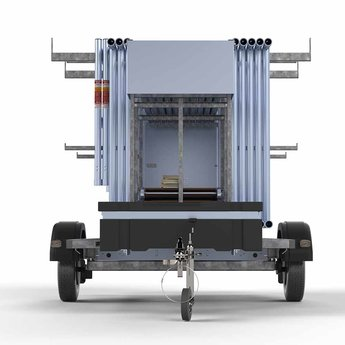 Steigeraanhanger afsluitbaar 250 + Rolsteiger Compleet 75 x 250 x 6,2 meter werkhoogte