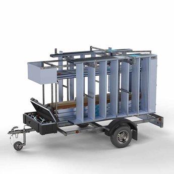Steigeraanhanger afsluitbaar 250 + Rolsteiger Basis 75 x 190 x 7,2 meter werkhoogte