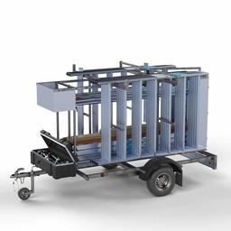 Steigeraanhanger afsluitbaar 250 + Rolsteiger Basis 75 x 190 x 8,2 meter werkhoogte