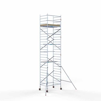 Steigeraanhanger afsluitbaar 250 + Rolsteiger Basis 135 x 190 x 9,2 meter werkhoogte
