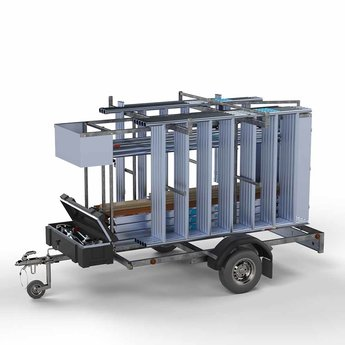 Steigeraanhanger afsluitbaar 250 + Rolsteiger Compleet 135 x 250 x 9,2 meter werkhoogte
