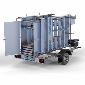 Steigeraanhanger afsluitbaar 250 + Rolsteiger Basis 135 x 250 x 10,2 meter werkhoogte