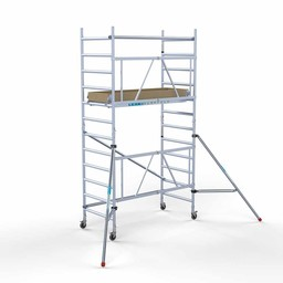 Steiger Euroscaffold 90 cm breed werkhoogte 5,0  meter (met verstelbare wielen)