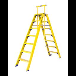 Staltor Kunststof dubbele trap met wegklapbare beugel 2x7 treden