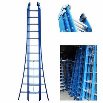 3 delige ladder 3x14 treden (blauwe coating)