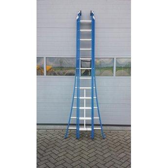 3 delige ladder 3x16 treden (blauwe coating)