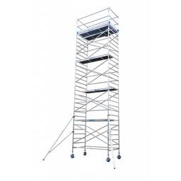 Euroscaffold Rolsteiger Compleet 135 x 250 x 12,2 meter werkhoogte met lichtgewicht platformen + aanhanger + extra wielen + wielsteunen
