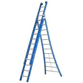 3 delige ladder 3x10 treden (blauwe coating)