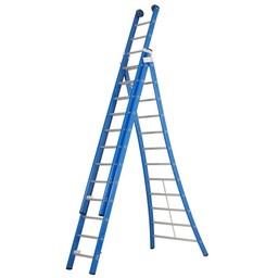 3 delige ladder 3x12 treden (blauw gecoat)