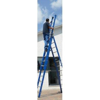 ASC 3 delige ladder 3x12 treden (blauwe coating)