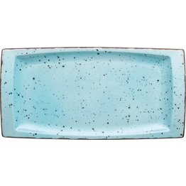 "Porzellanserie ""Granja"" aqua Platte flach eckig, 18 x 36 cm"