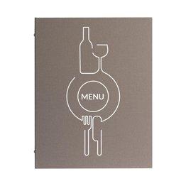 """Speisenkarte, grau """"Leinen"""", A4"""