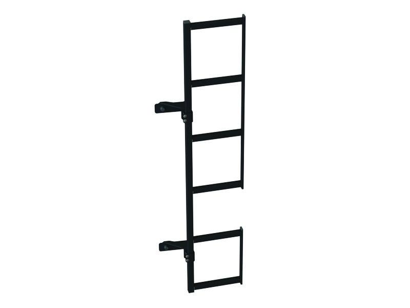 Zwarte duplex ladder °180 montage op deur Ford Transit tot 2014 H1 laag dak Linkerzijde