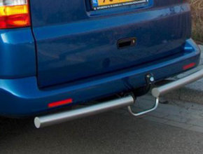 Volkswagen Rearbar RVS geborsteld Volkswagen Caddy Maxi vanaf 2004 uitvoering met trekhaak