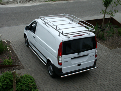 Rearbar RVS gepolijst Mercedes Vito vanaf 2014 uitvoering zonder trekhaak