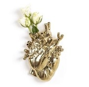Seletti Love in Bloom heart vase Gold