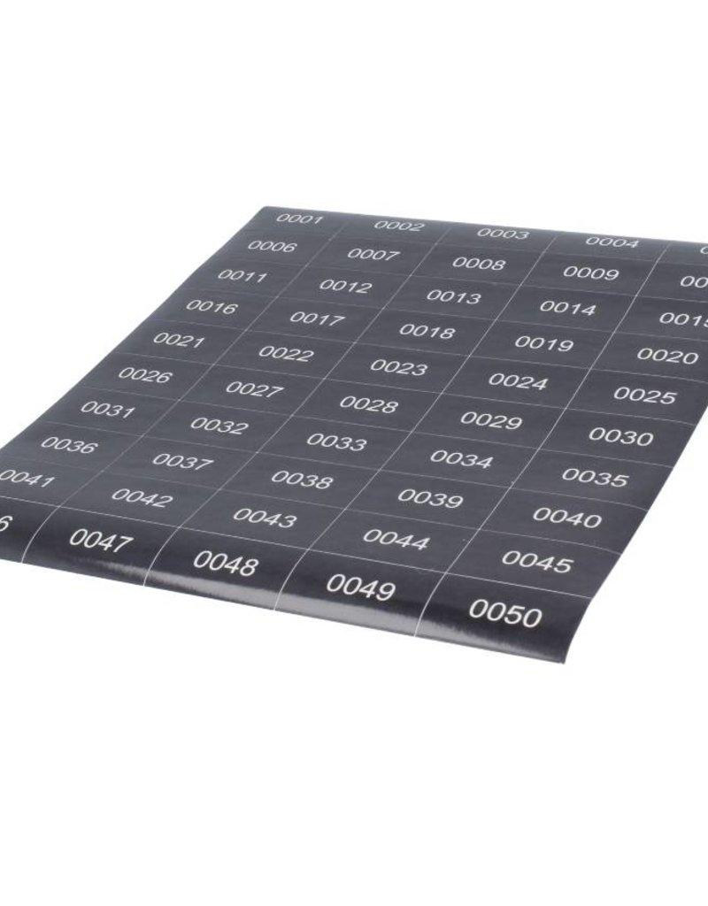 o27 Foliennummerierung - Weisse Ziffern 1-100 auf schwarze Klebefolie