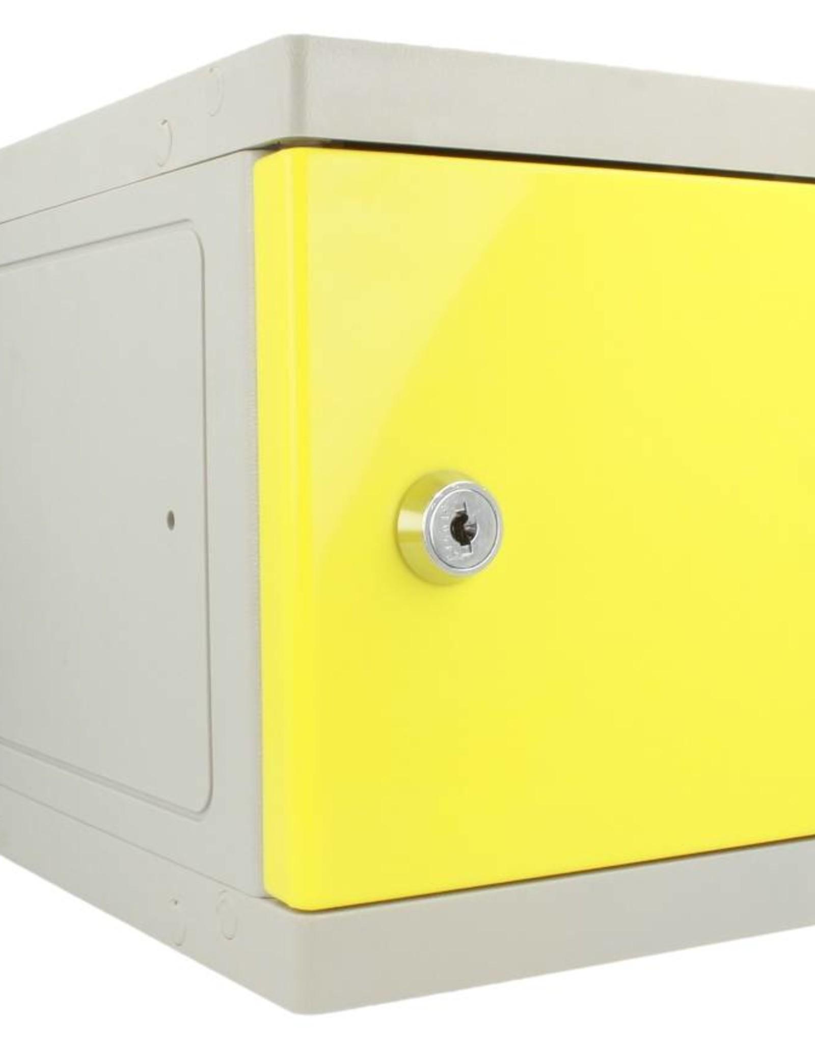 o27 Kunststoff Mini Schliessfach - grau/gelb