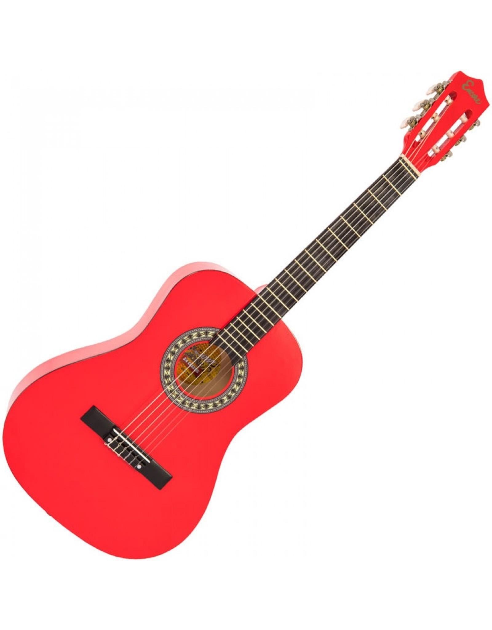 Encore Klassieke gitaar 3/4 91cm Rood  incl.  | Gitaartas | Gitaarsnaren | Gitaarband | Plectrums | Stemfluit | Zelfstudie DVD | Gitaarset