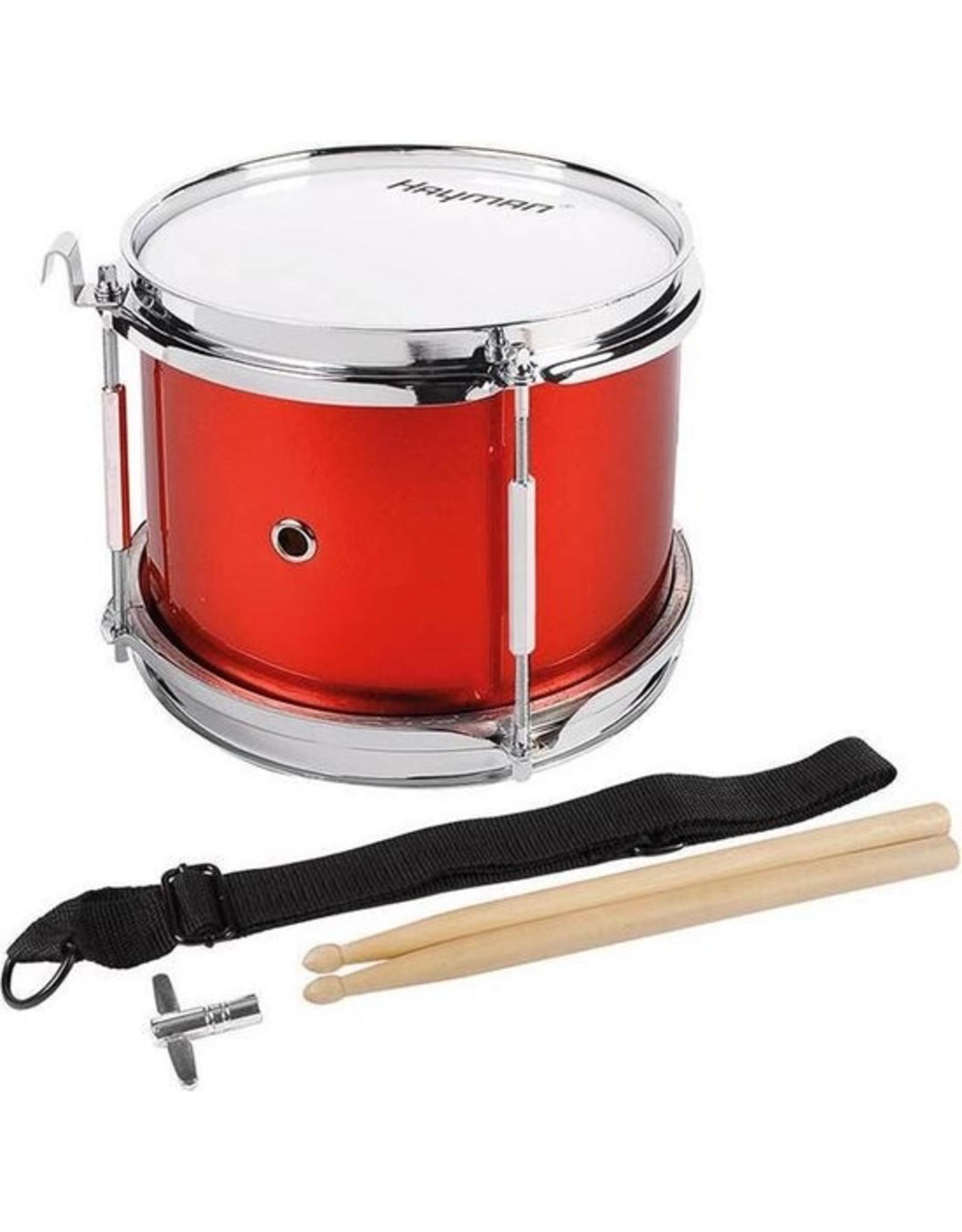 Hayman trommel kinder snaartrom, 8 inch, metallic rood, incl. stokken, riem en haak