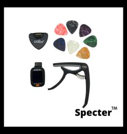Specter Specter Gitaar Capo Set met Clip-on Tuner en 6 plectrums met plectrumhouder