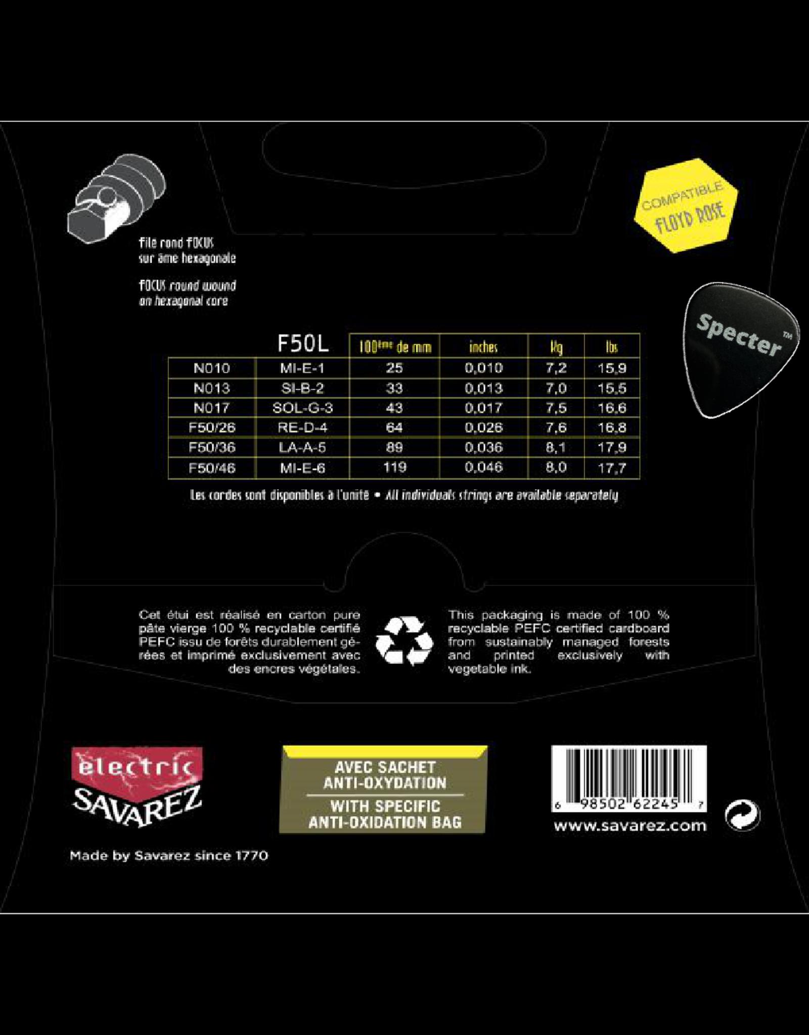 Savarez Savarez F50L Focus Premium Gitaarsnaren Voor De Elektrische Gitaar Met Specter Plectrum | Snarenset | Elektrisch | Stalen Snaren