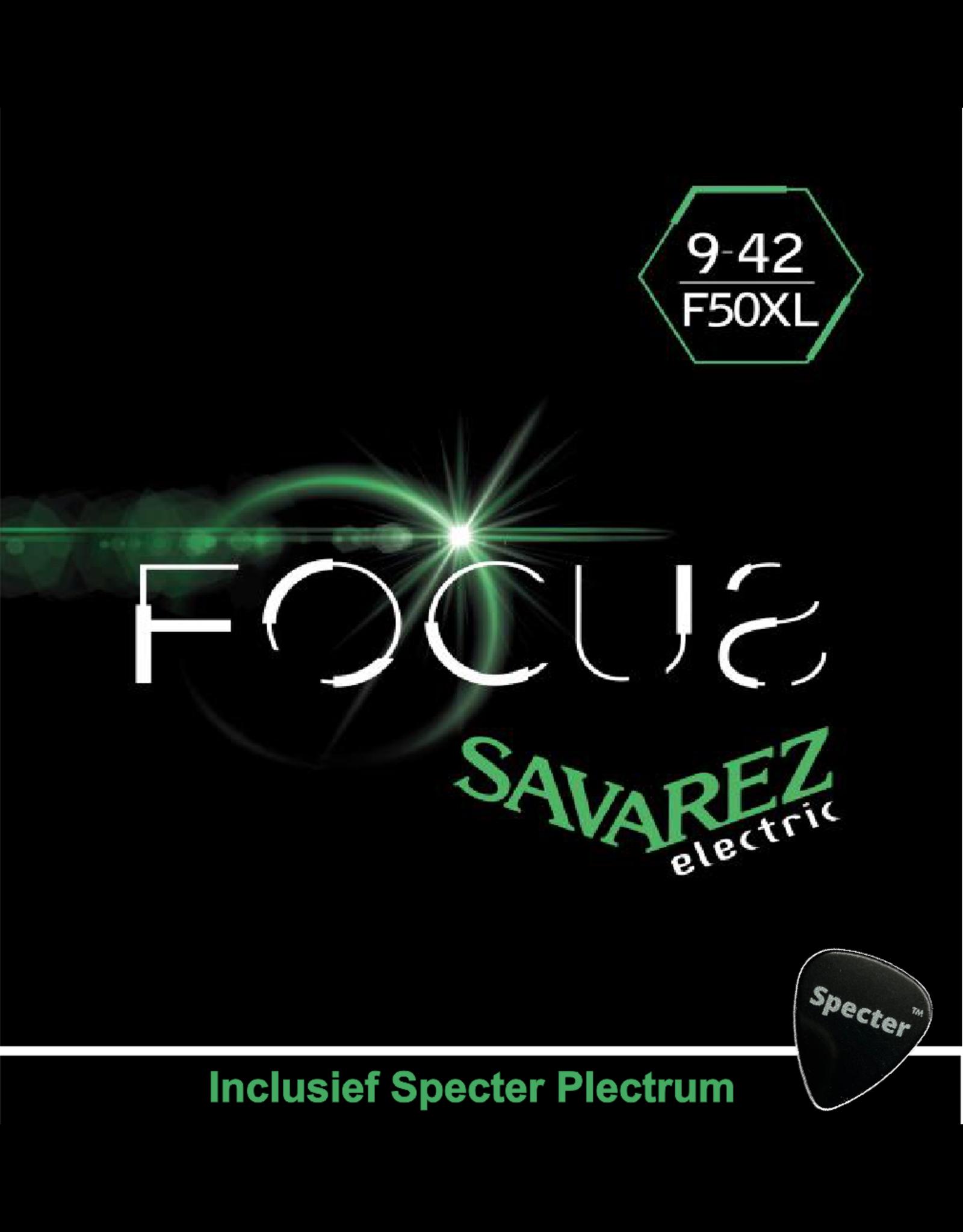Savarez Savarez F50XL Focus Premium Gitaarsnaren Voor De Elektrische Gitaar Met Specter Plectrum | Snarenset | Elektrisch | Stalen Snaren
