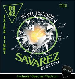 Savarez Savarez X50XL Premium Gitaarsnaren Voor De Elektrische Gitaar Met Specter Plectrum | Snarenset | Elektrisch | Stalen Snaren