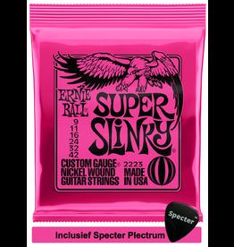 Ernie Ball Ernie Ball Super Slinky Electrisch 6stuk(s) Staal Gitaarsnaren met Specter Plectrum