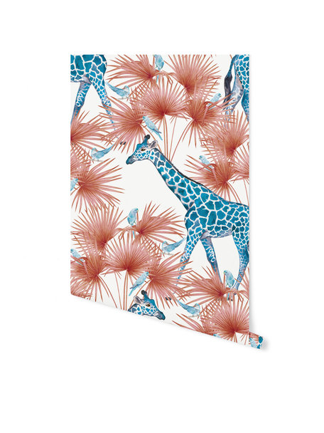 Creative Lab Amsterdam Blue Giraffe Wallpaper on roll