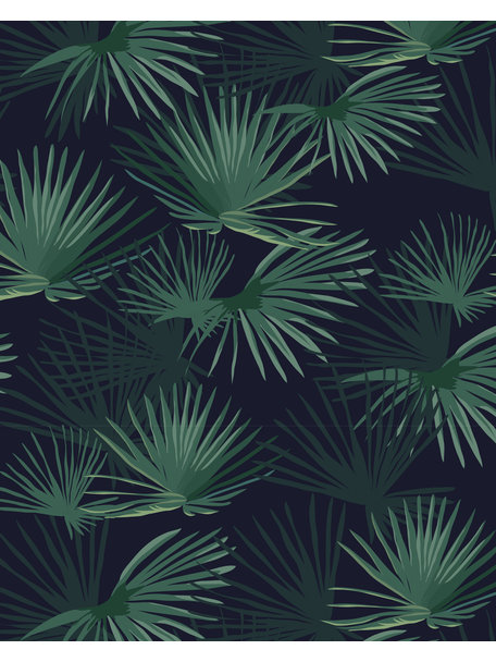 Palm Leaves Dark Green Wallpaper On Roll Creative Lab Amsterdam