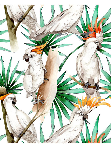 Creative Lab Amsterdam White Parrot Behang op rol