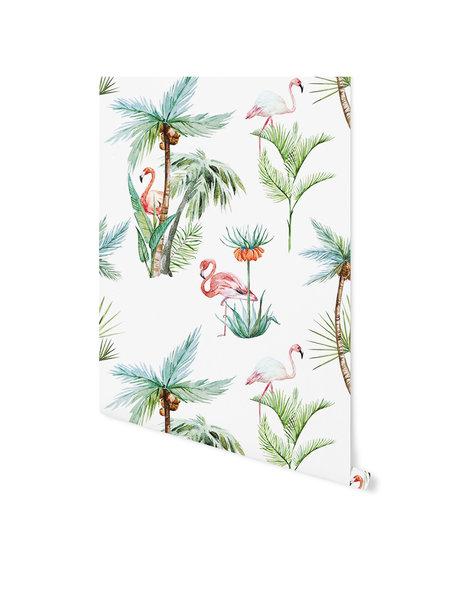 Creative Lab Amsterdam Flamingo Palm Behang op print
