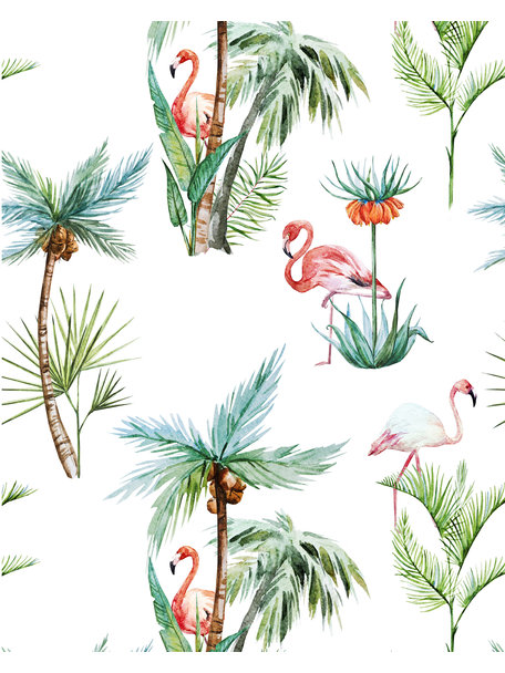 Creative Lab Amsterdam Flamingo Palm Wallpaper on roll