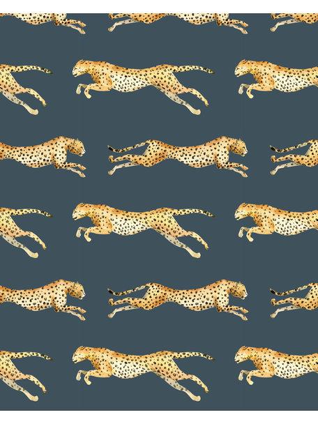 Creative Lab Amsterdam Leopard Grey Blue Behang op rol