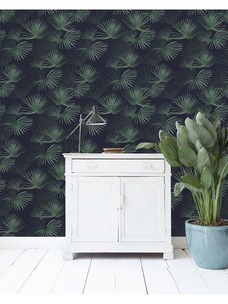 Palm Leaves Dark Green Behang