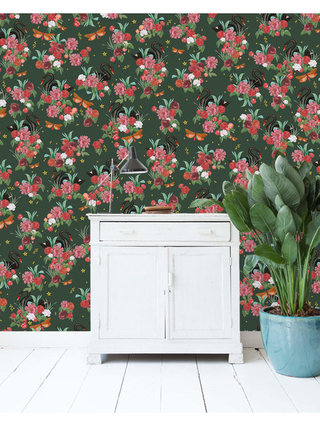 Creative Lab Amsterdam Wild Roses Wallpaper Gold