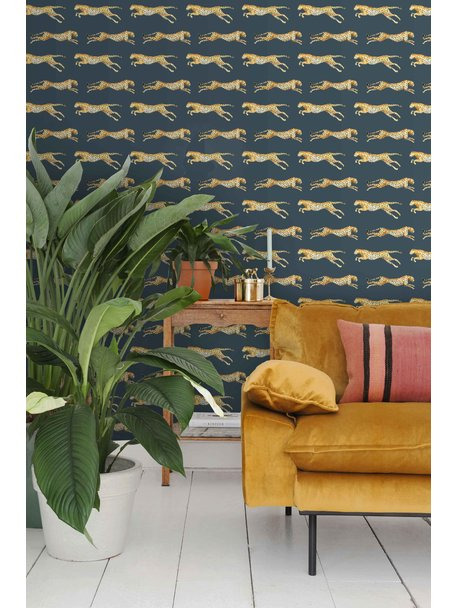 Creative Lab Amsterdam Leopard Wallpaper Blue