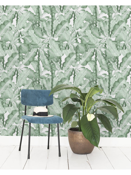Creative Lab Amsterdam Banana Leaves Watercolour Wallpaper Green