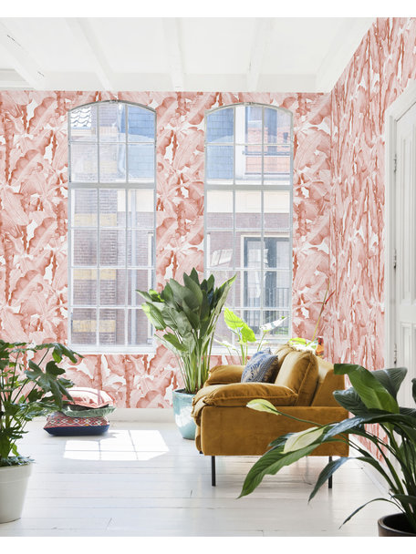 Creative Lab Amsterdam Banana Leaves Watercolour Wallpaper Pink