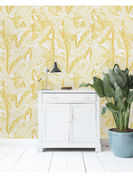 Creative Lab Amsterdam Banana Leaves Watercolour Behang Yellow