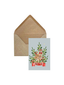 Creative Lab Amsterdam Cheetah Berry Christmas Card - Blue