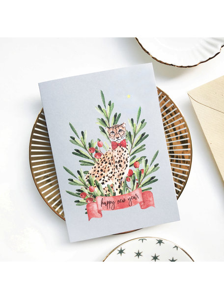 Creative Lab Amsterdam Cheetah Berry Christmas Card Blue