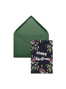 Creative Lab Amsterdam Mistletoe Christmas Card Blue (set of 8 cards)