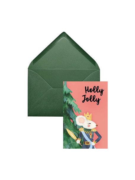 Creative Lab Amsterdam Holly Kerstkaart - Pink (set van 8 kaarten)