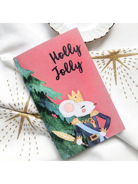 Creative Lab Amsterdam Holly Christmas Card Pink (set of 8 cards)