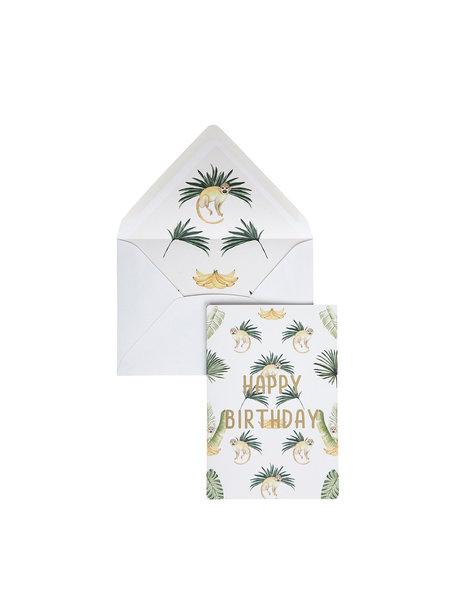 Bananas & Monkeys Greeting Card - Happy Birthday