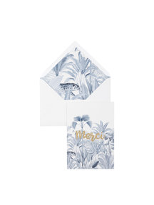 Blue Jungle Greeting Card - Merci